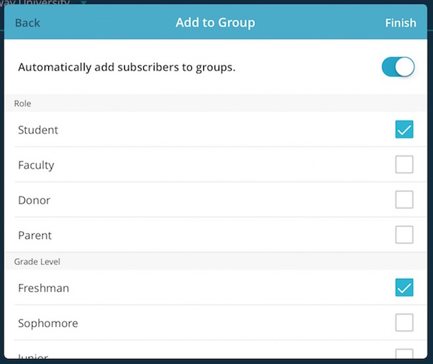 Automatically add to groups pop-up modal.