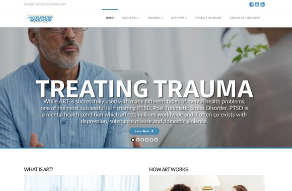 "Website homepage for therapy business. Branding and logo at top of page with dropdown header links. Majority of page is background image of man talking to another person whose back shoulder is only visible. Large white text overlays image, ""Treating Trauma"" with supporting text about therapy services. Below image are two text boxes with more supporting information about services."