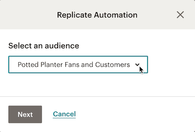 Image of modal with cursor choosing an audience from a drop-down