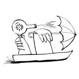 Blow dryer blowing umbrella boat
