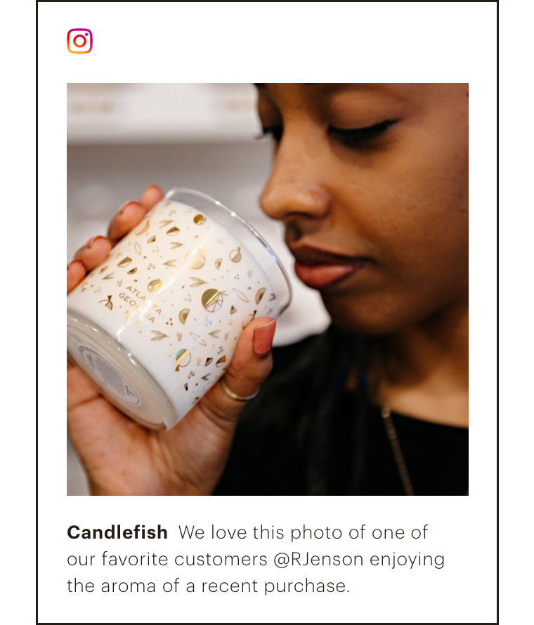 Abstract UI of an IG post highlighting a photo of a customer using a product