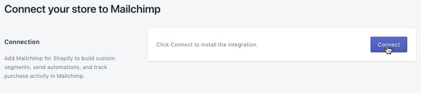 ShopSync - curseur cliquant sur Connect (Connecter) dans Shopify