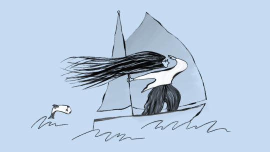 Illustration of woman on sailboat.