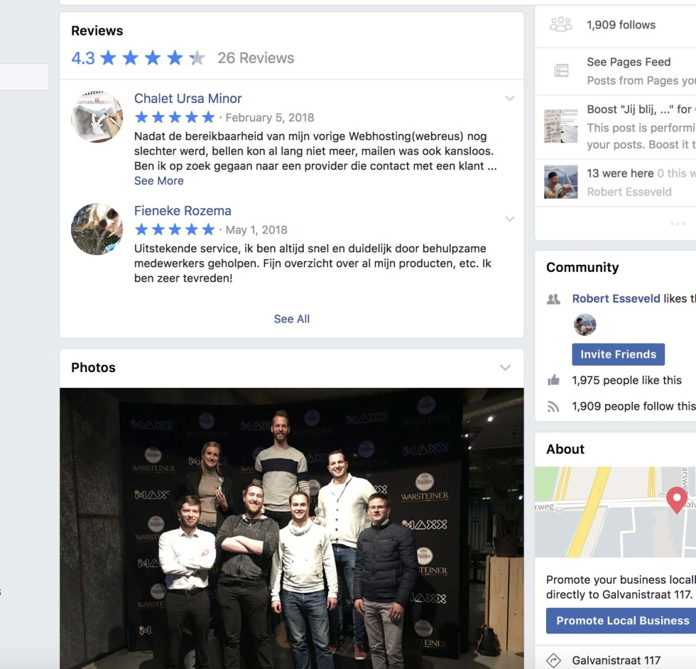 Screenshot of Facebook page for a business. Shows positive reviews and ratings.