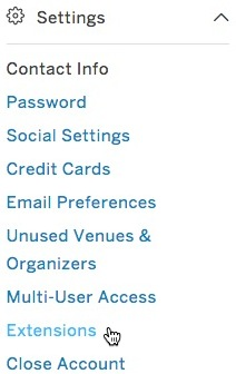 Cursor hovers over the Extensions option in the Settings section of the navigation panel.