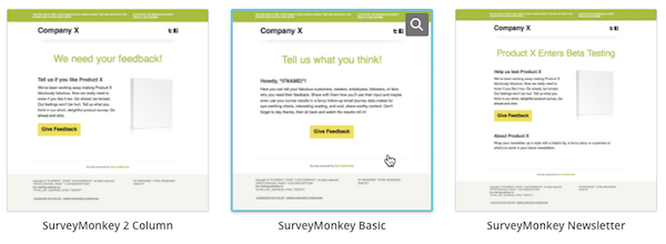 click the surveymonkey template you want to use
