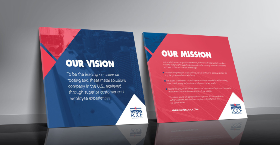 Image of boards with the text Our vision and our mission