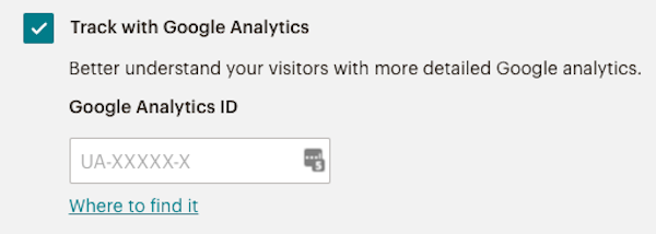 The Track with Google Analytics option in landing page Settigns & Tracking section.