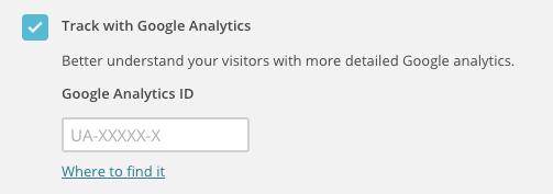 La opción Track with Google Analytics de la sección Settings & Tracking de una página de destino.