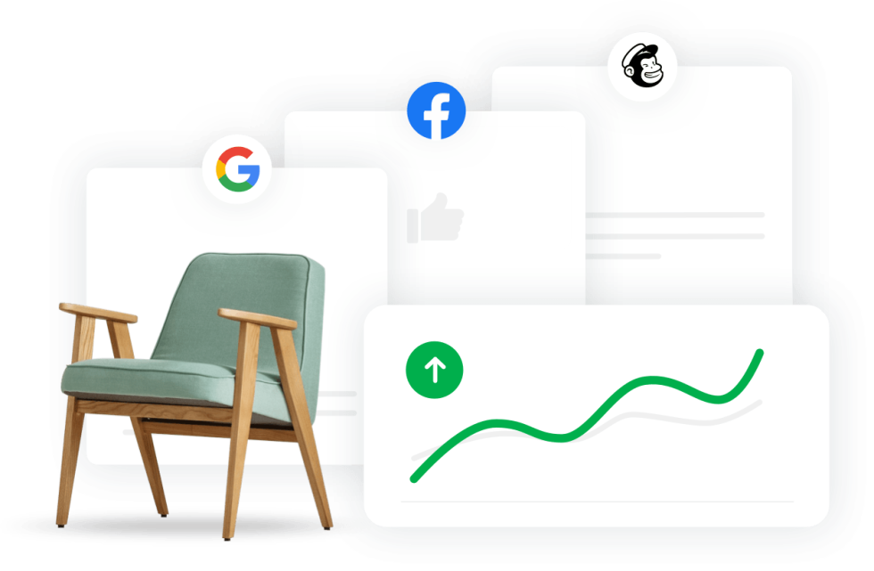 Image of A chair under a google logo, facebook logo, and a mailchimp logo. Also a graph trending upwards.