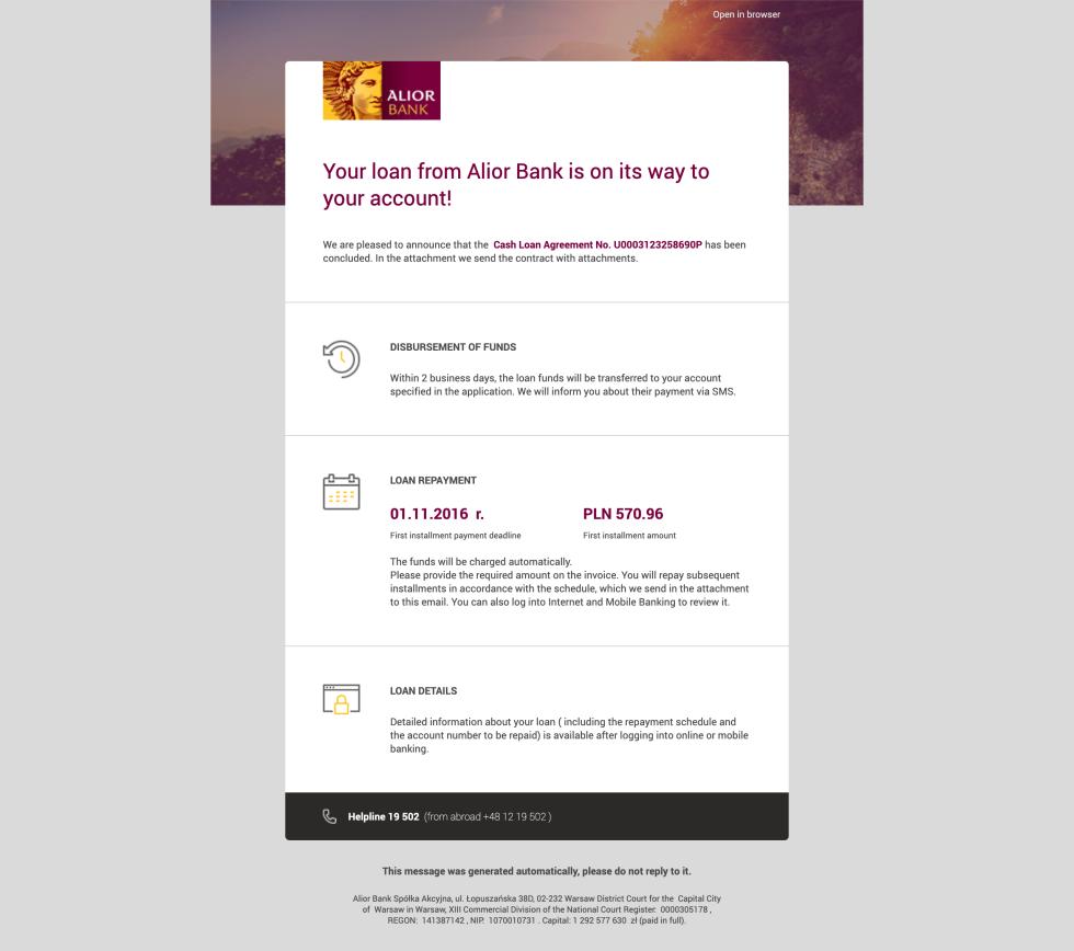 email campaign screenshot