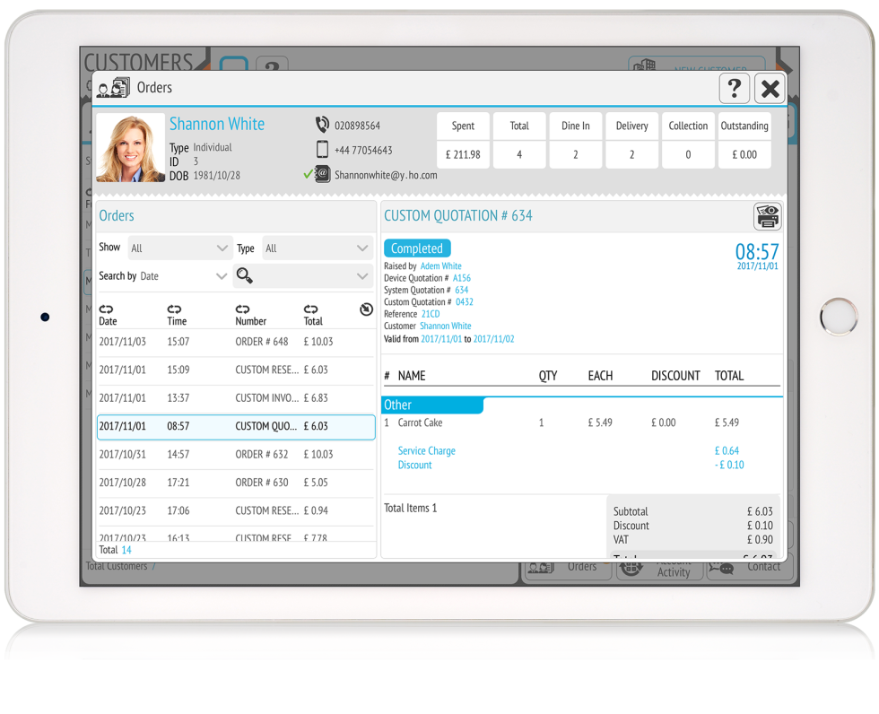 Image of Ipad with the Tillpoint CRM on the screen