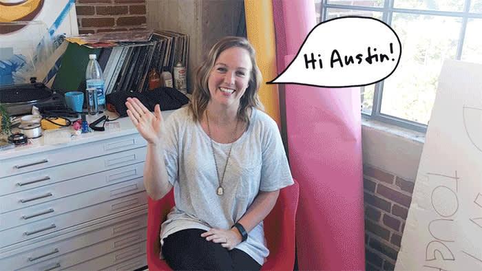 Meg waving to Austin