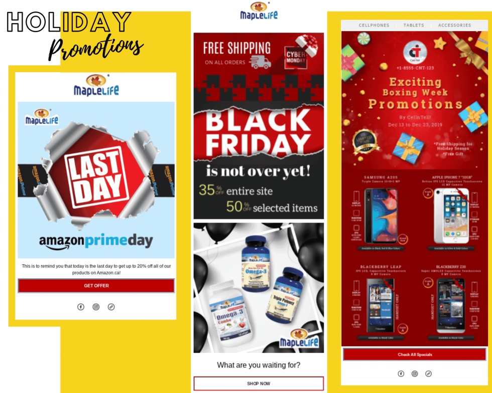 """Image of Black Friday sales and gadgets with text """"Holiday Promotions"""""""