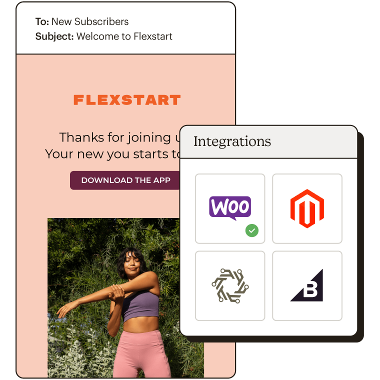 Showing e-commerce integration options with Woo Commerce marked as connected.