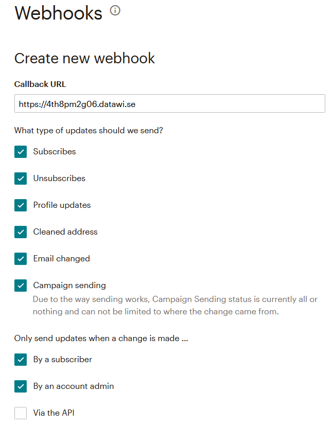 Image of create Webhooks options