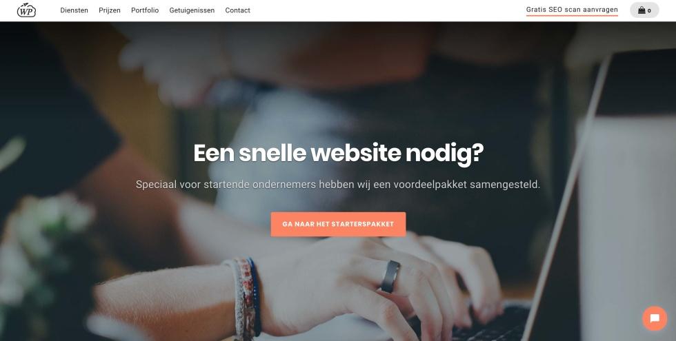Screenshot of agency website homepage