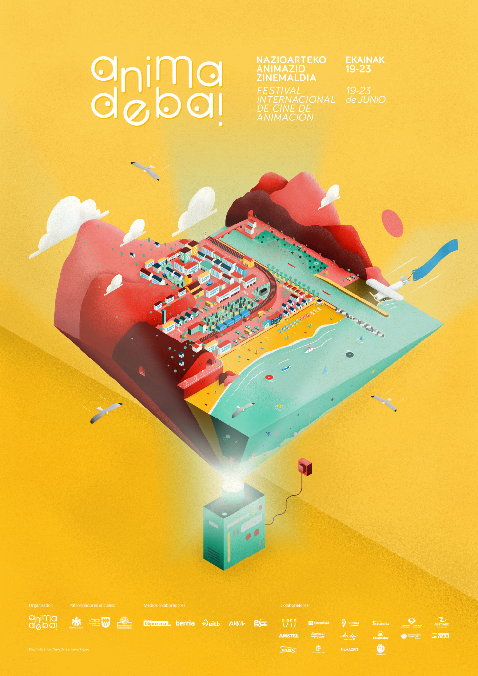 Yellow poster print with logo and supporting event information at the top of the page in white text. At bottom of poster, a projector is projecting a tiny beach city upwards that takes up the most space on the poster. Complete with red mountains, white clouds, rows of houses, and small boats. Branding in white text below projector.