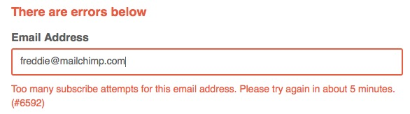 Too many subscribe attempts for this email address error message