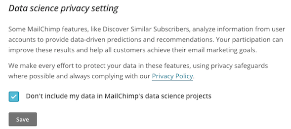 Screenshot of data science and privacy permisson screen.