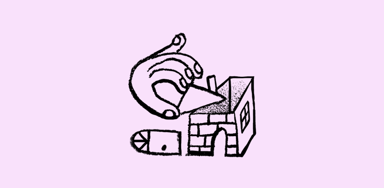 Doodle of hand building a house.