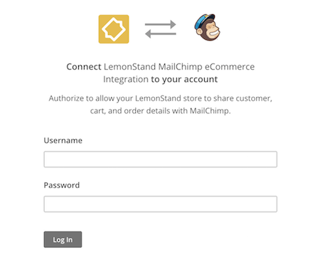 Mailchimp for LemonStand auth modal