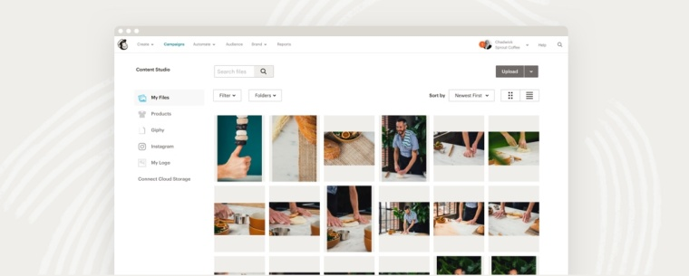 An example of the Mailchimp Content Studio