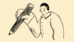 Illustration of man holding pencil
