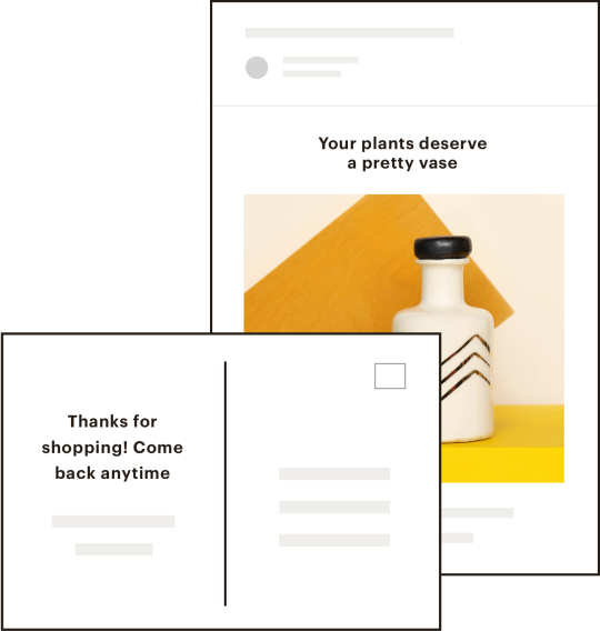 Postcard and email examples.