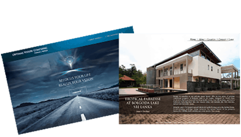 Two separate images of website homepages. The website page on the right side is arranged on top of the left website page. The left website page comes at a tilted angle and includes a photo of a road going off into the distance in the middle of a desert. The website page to the right includes a photo of a modern home with supporting text.