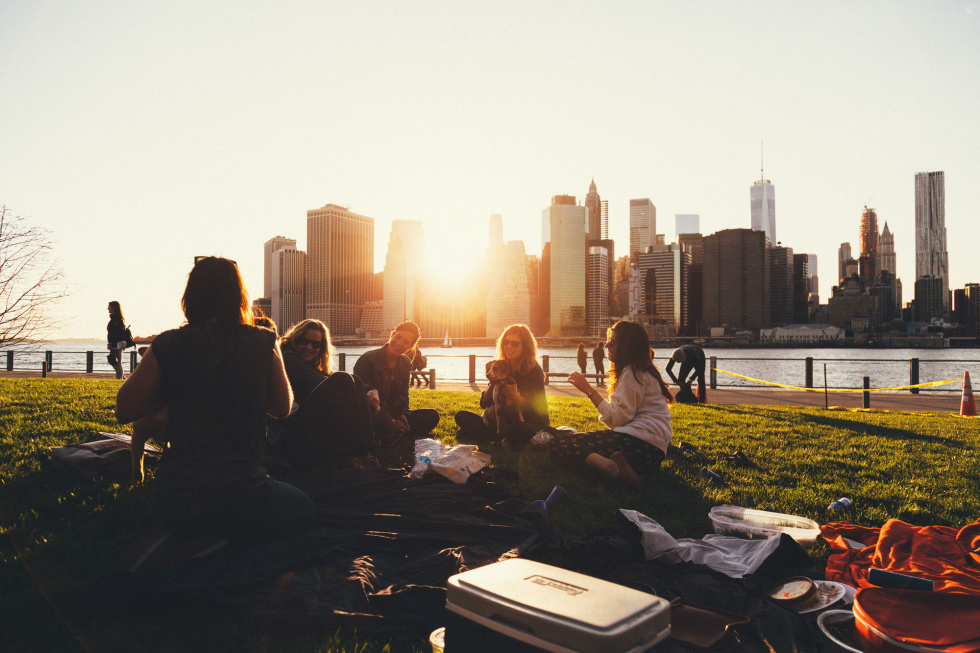 Image of people in a park with a city scape in the background