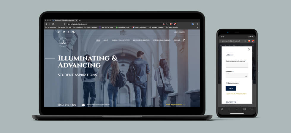 Website on both a laptop and mobile device