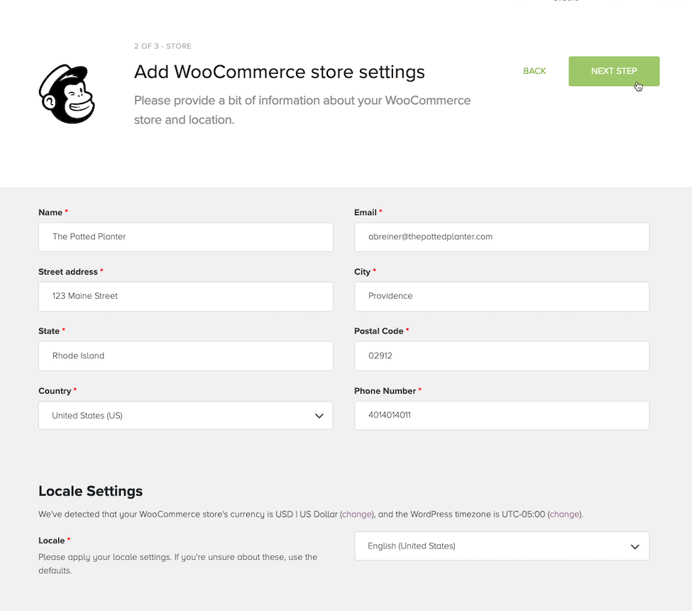 Cursor Clicks - Next Step - WooCommerce Store Settings