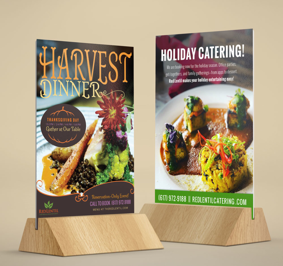 """Two holiday themed cards for restaurants featuring images of delectable seasonal food. Card 1 includes text """"Harvest Dinner"""" and card 2 includes text """"Holiday Catering!"""""""