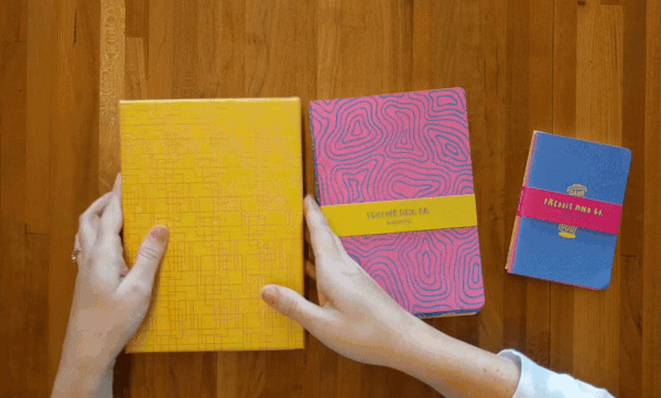 Meg is organizing some notebooks