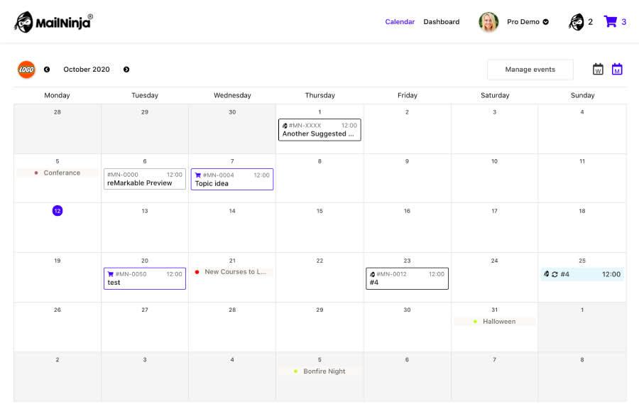 Image of Mailninja calendar