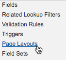 Cursor clicks Page Layouts.