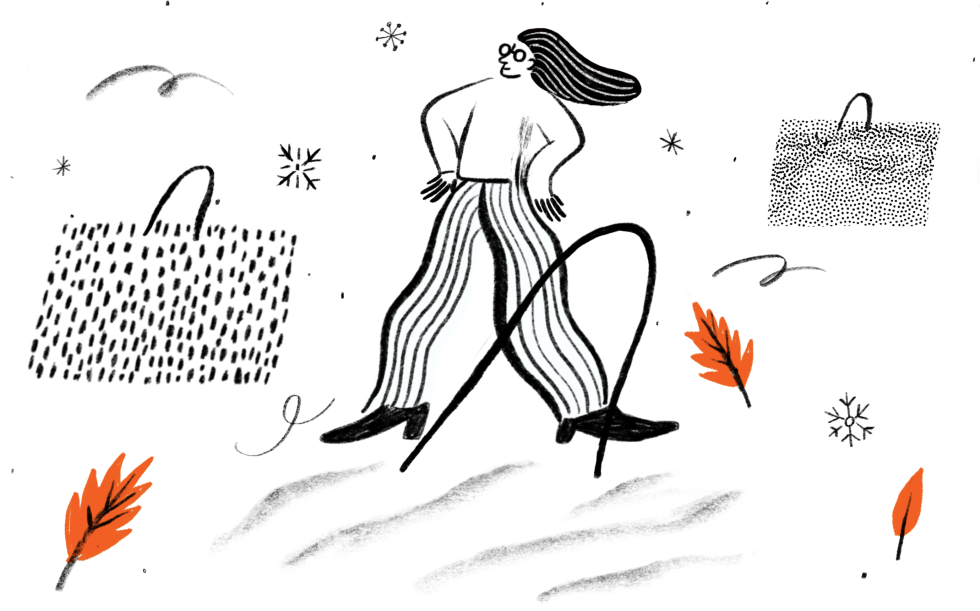 Illustration of woman and shopping bags