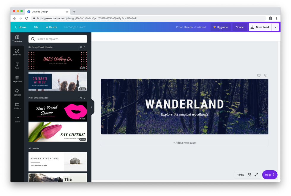 Image of design dashboard with the text Wanderland explore the magical woodlands
