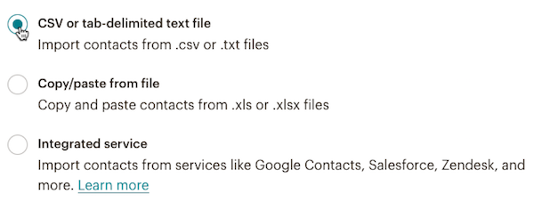 click csv or text file