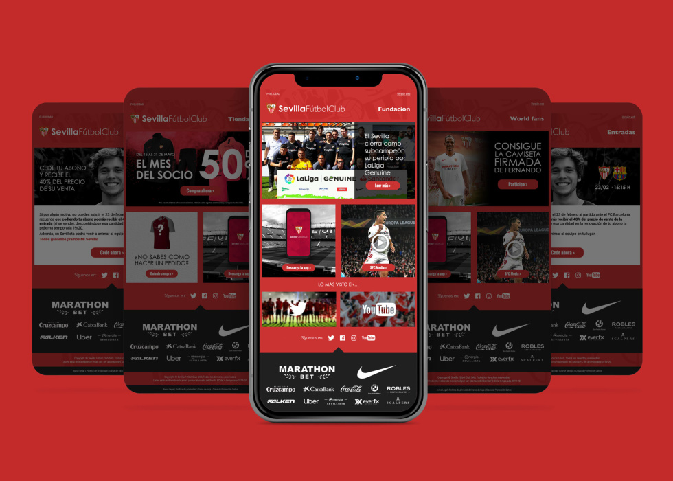 Image of phone screens with Sevilla FC site