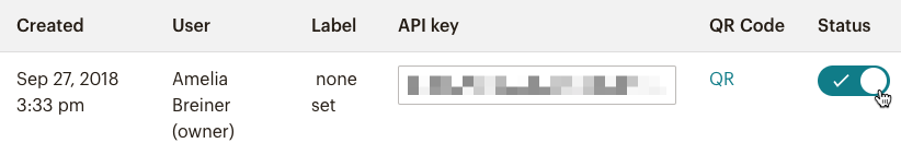 Find the API key you want to disable and click Disable.