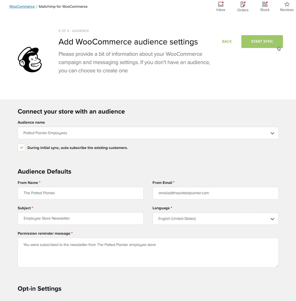 Cursor Clicks - Start Sync - WooCommerce Audience Settings