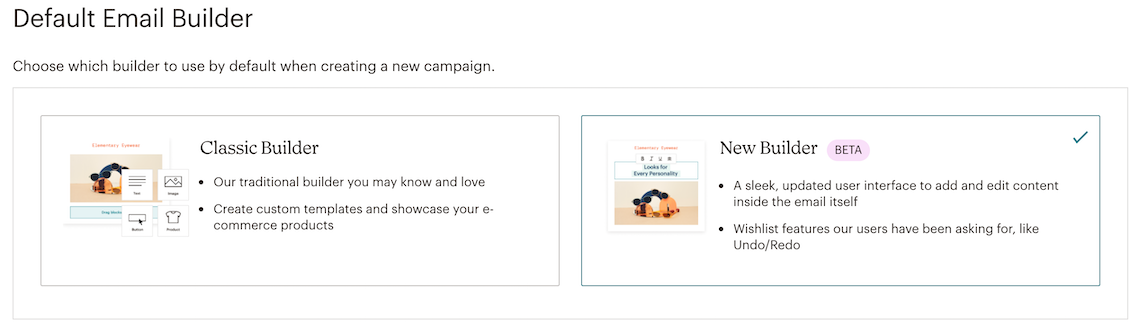 Opções padrão do criador de e-mail com o novo criador selecionado