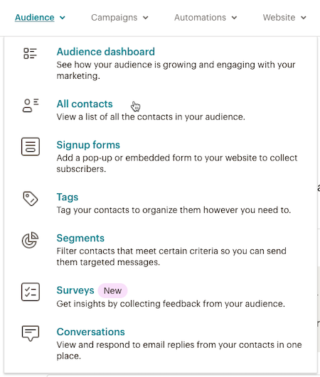 Cursor Clicks - All contacts - Audience Dropdown