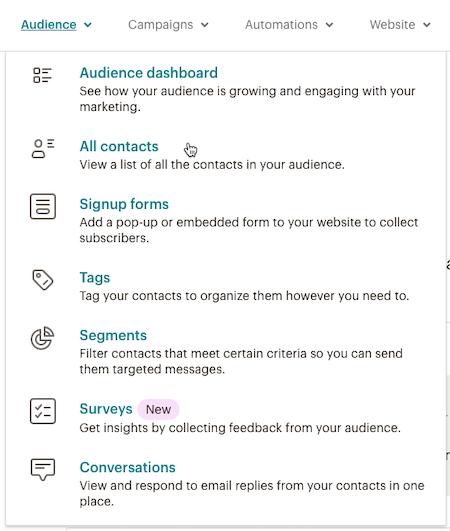 El cursor hace clic - Todos los contactos - Menú desplegable de público