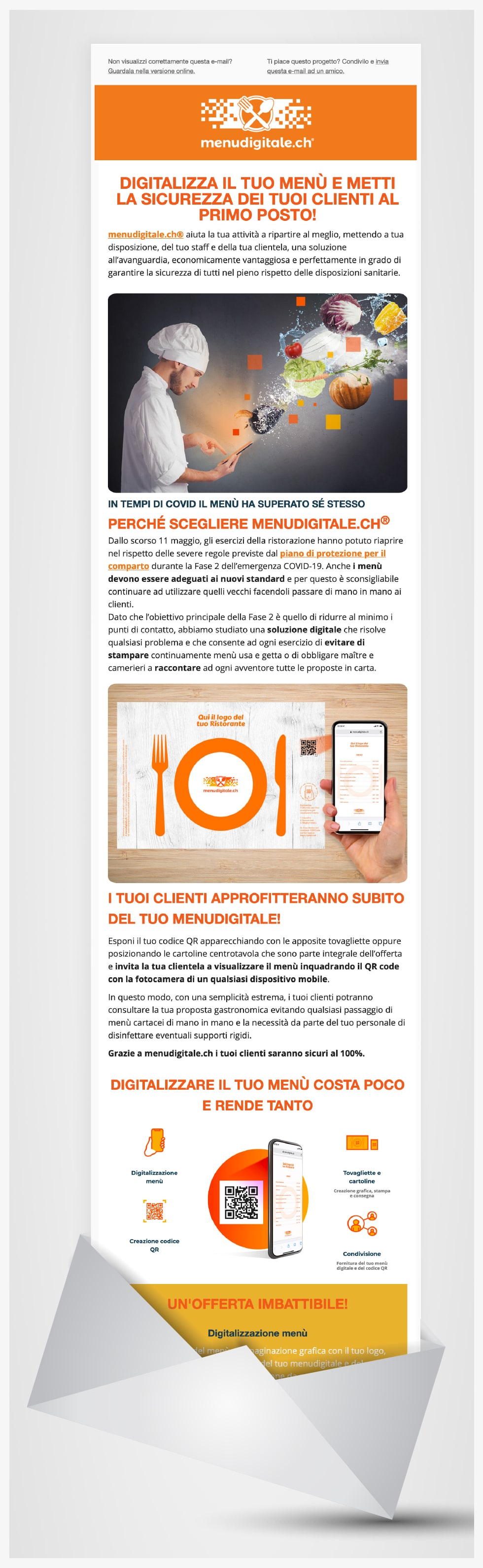 Image of a newsletter for menudigitale.ch