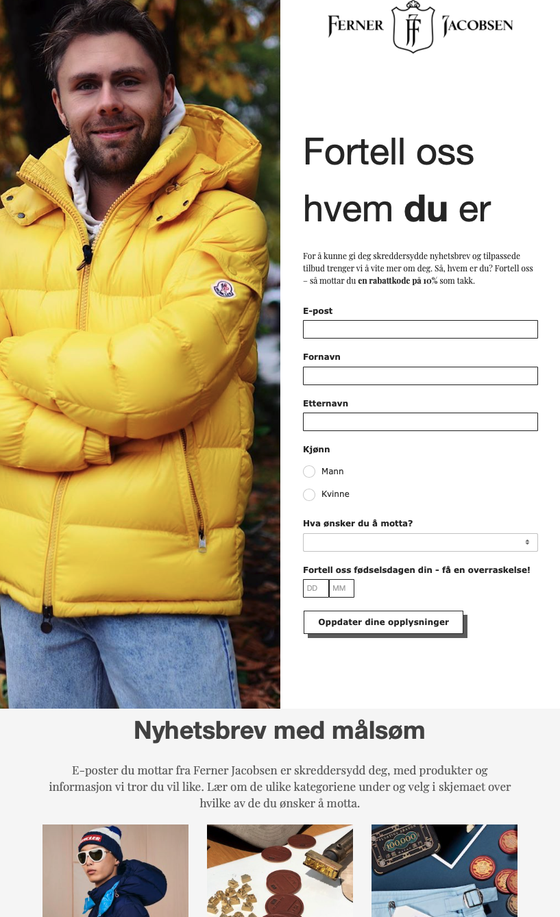 Landing page template. Page is split vertically in half. Left image is man in yellow winter coat standing with arms folded looking satisfied. Right side has white background with black text. Logo at the top with text boxes to input information. Below these two images is a break with a title and three photographs below aligned horizontally. The photos are cut off at the bottom.