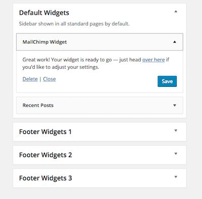 image: a screenshot of the Mailchimp widget area in wordpress.
