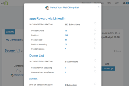 Screenshot of the Appyreward integration
